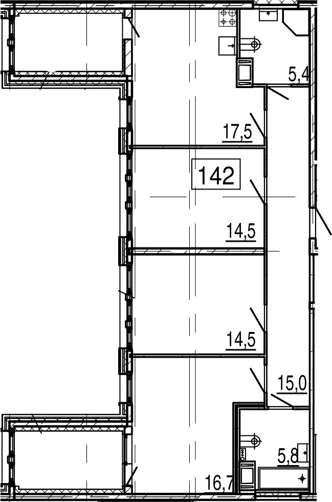 4-комнатная 102 м<sup>2</sup> на 11 этаже