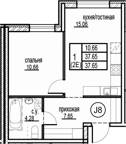 2-к.кв (евро), 37.65 м²