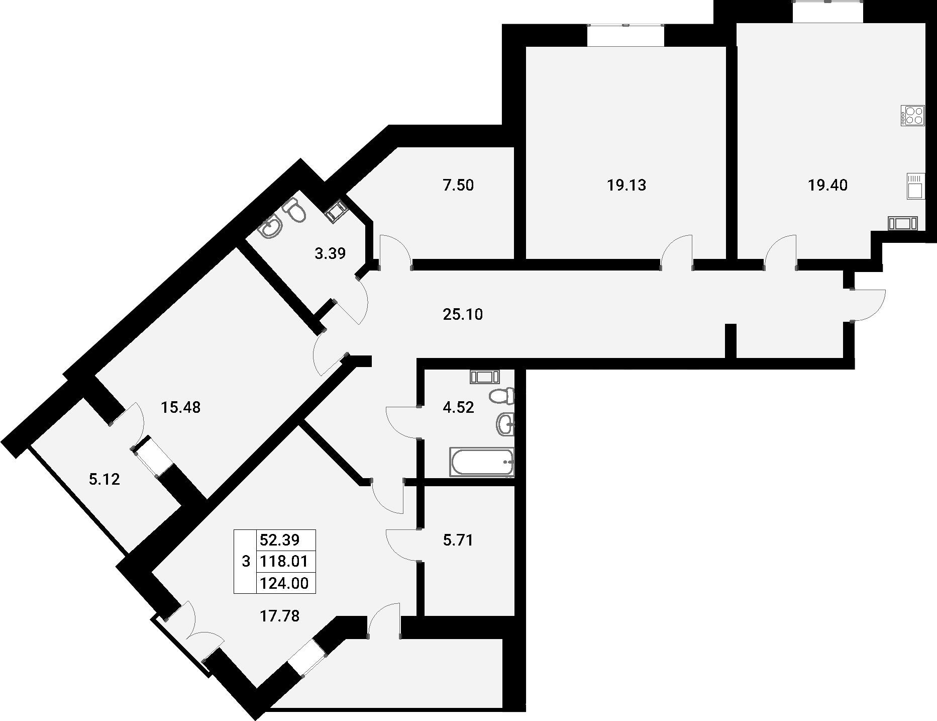 4-комнатная 132 м<sup>2</sup> на 3 этаже