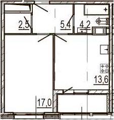 1-комнатная 46 м<sup>2</sup> на 8 этаже