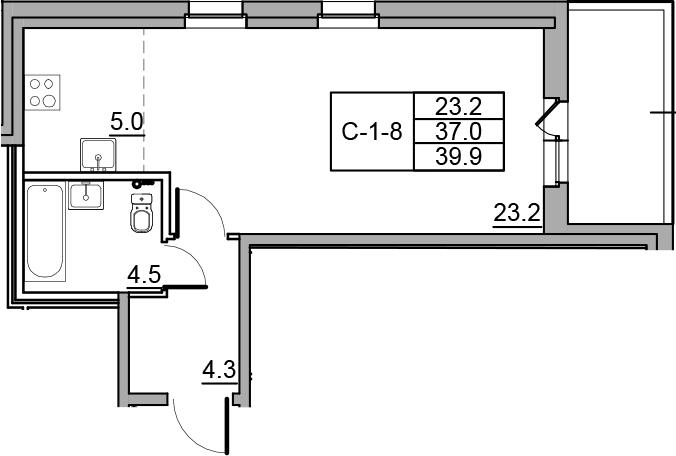 Студия 42 м<sup>2</sup> на 3 этаже