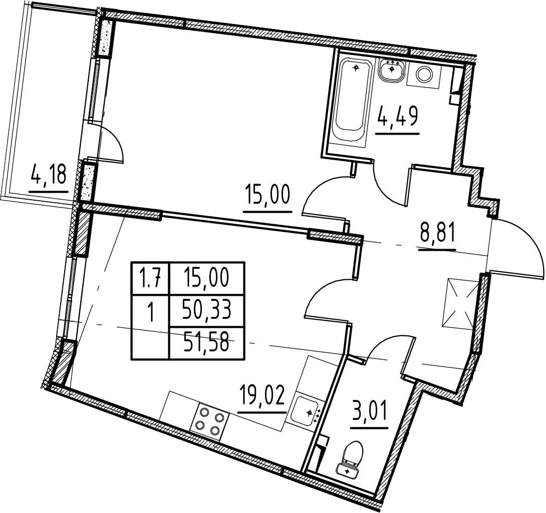 2-комнатная 54 м<sup>2</sup> на 2 этаже