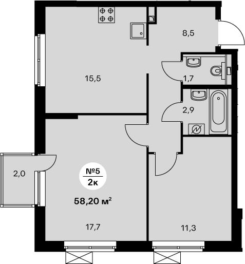 3-комнатная 59 м<sup>2</sup> на 25 этаже