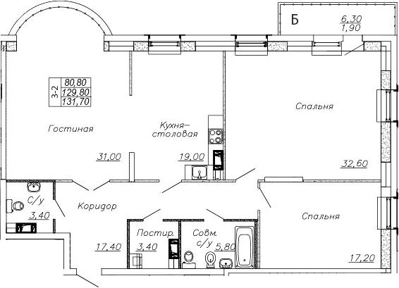 4-комнатная 136 м<sup>2</sup> на 2 этаже