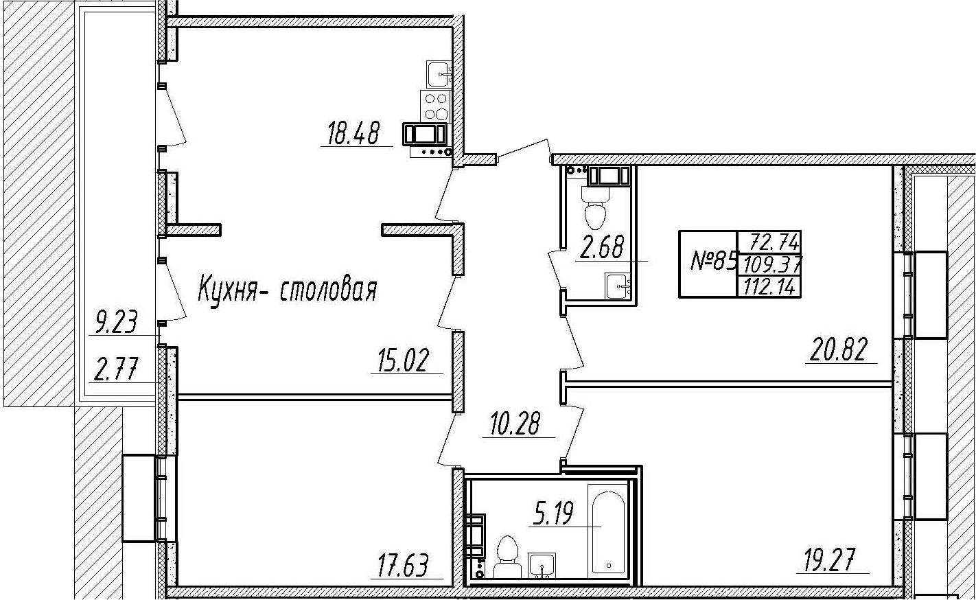 4-комнатная 118 м<sup>2</sup> на 10 этаже
