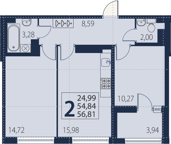 3-к.кв (евро), 58.78 м²