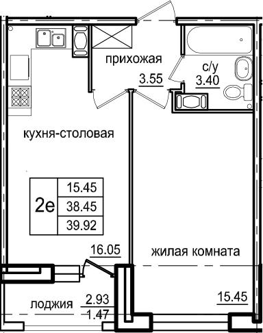 2-комнатная 41 м<sup>2</sup> на 7 этаже