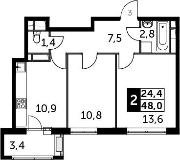 2-к.кв, 50.33 м²