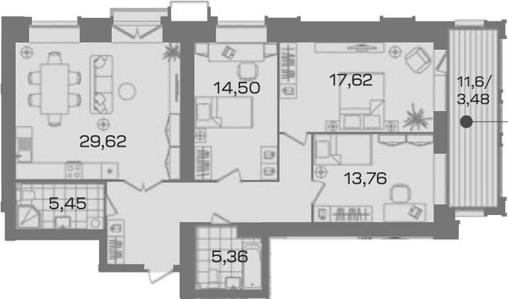 3-комнатная 114 м<sup>2</sup> на 3 этаже
