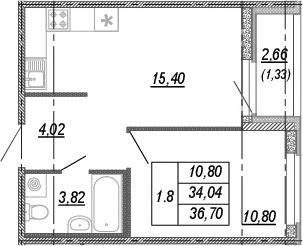2-комнатная 36 м<sup>2</sup> на 3 этаже