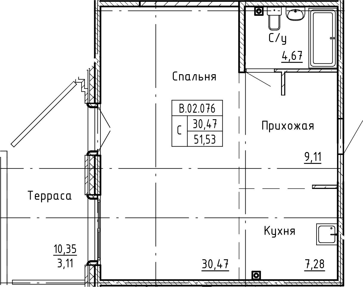 Студия 61 м<sup>2</sup> на 2 этаже