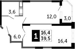 1-к.кв, 41 м²