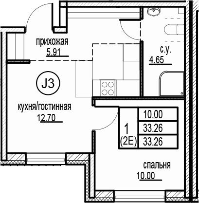 2-к.кв (евро), 33.26 м²