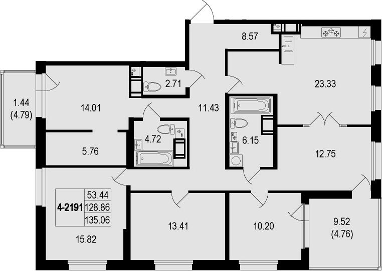 4-комнатная 143 м<sup>2</sup> на 9 этаже