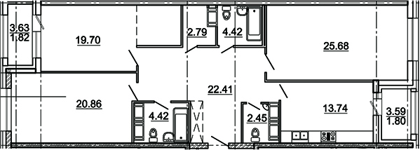 3-комнатная 123 м<sup>2</sup> на 18 этаже