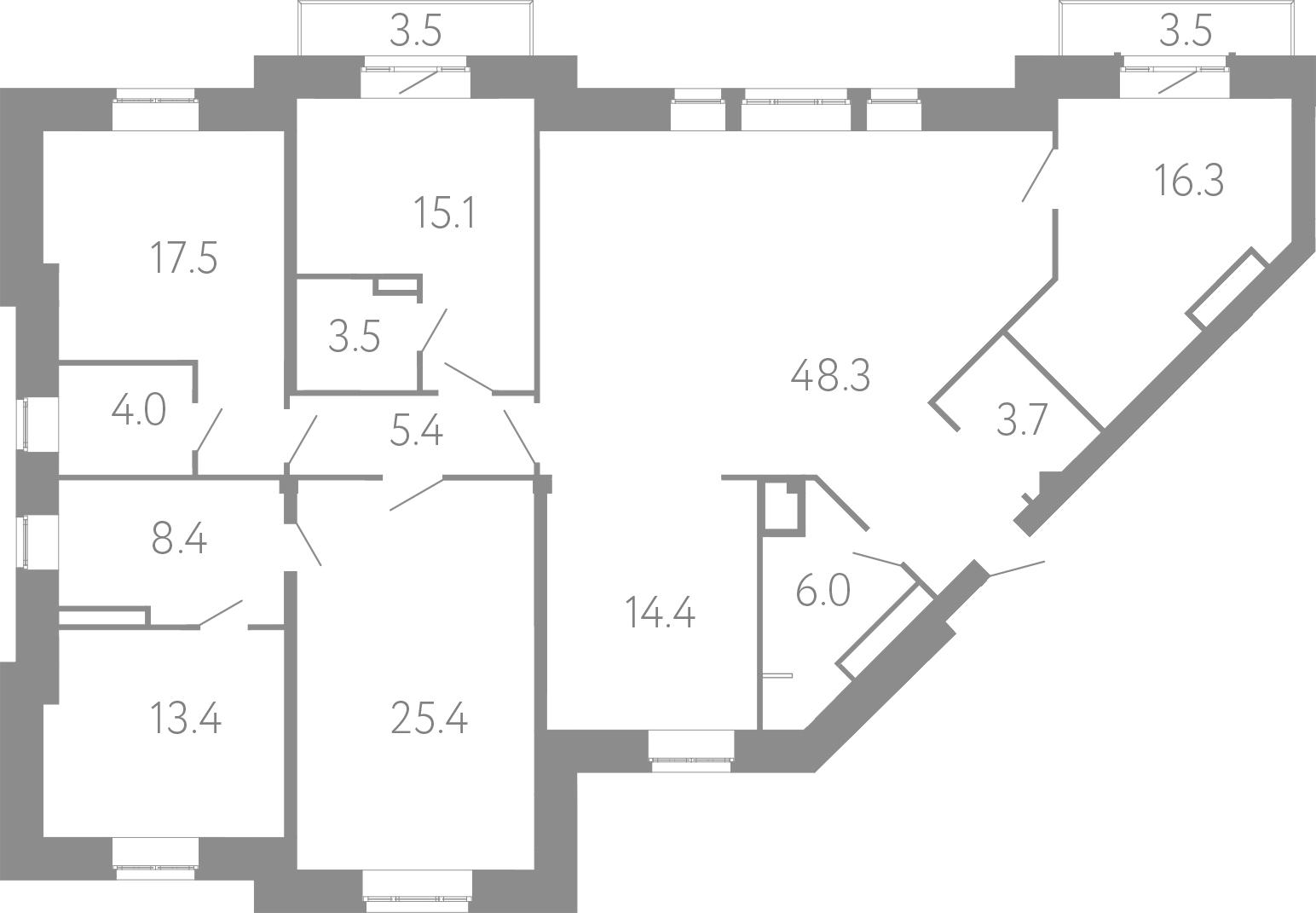 4-комнатная 188 м<sup>2</sup> на 3 этаже