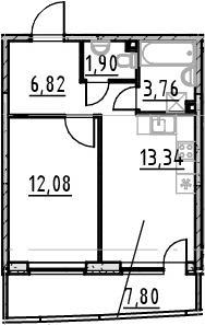 1-комнатная 45 м<sup>2</sup> на 23 этаже