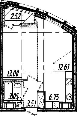 2-комнатная 41 м<sup>2</sup> на 10 этаже