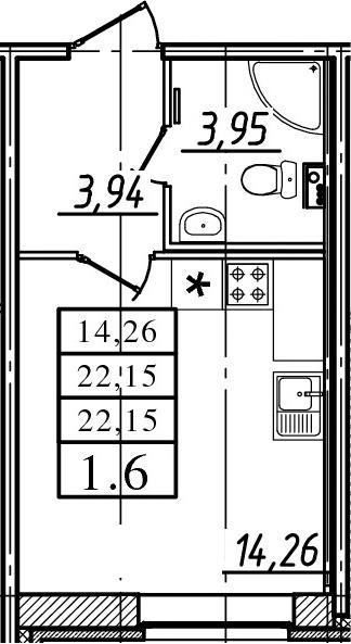 Студия, 22.15 м²