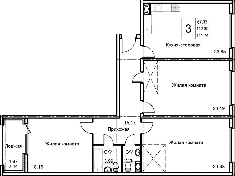 3-комнатная 117 м<sup>2</sup> на 9 этаже