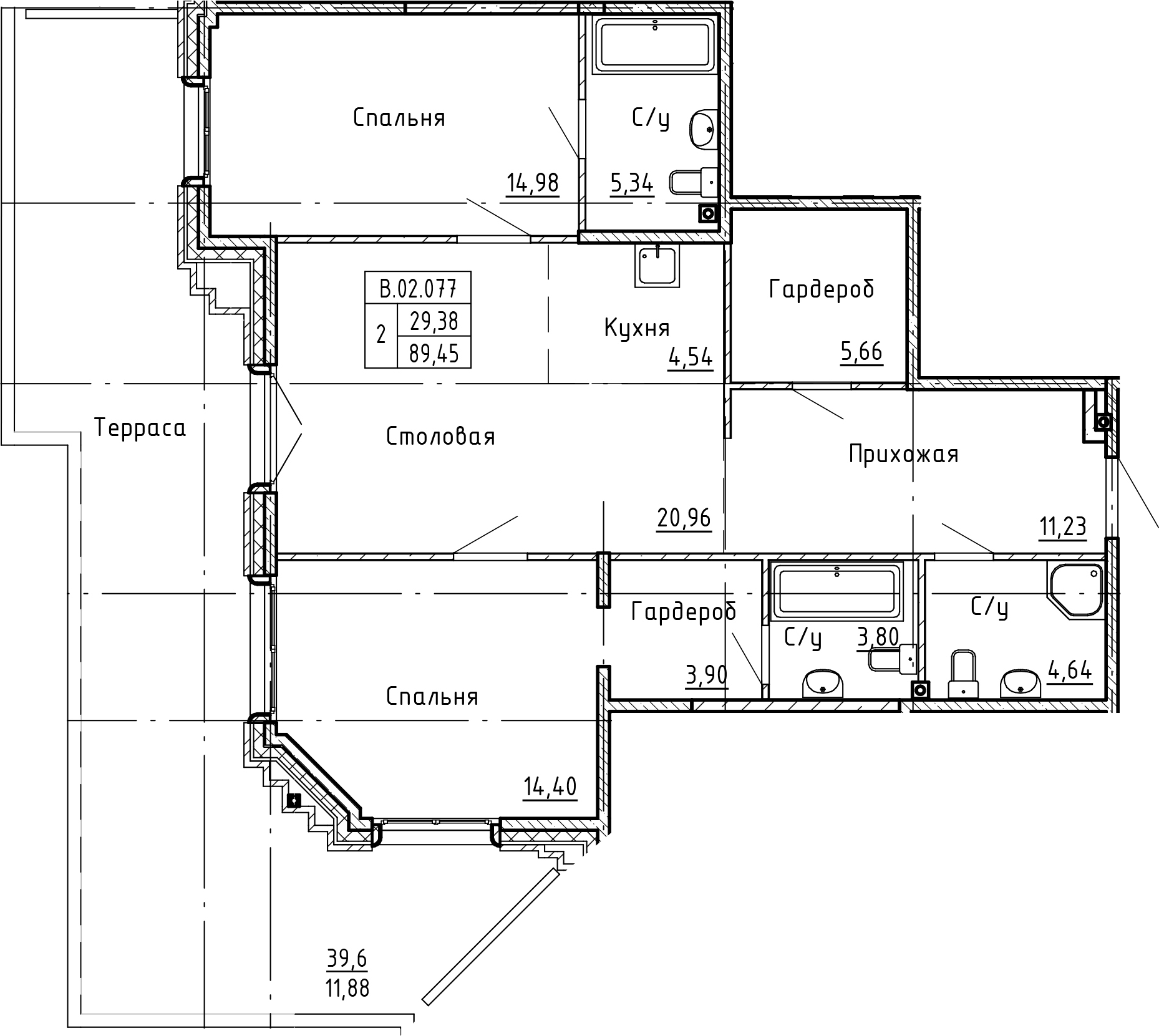 3-комнатная 129 м<sup>2</sup> на 2 этаже