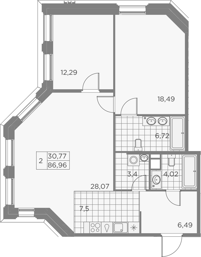 3-комнатная 86 м<sup>2</sup> на 3 этаже
