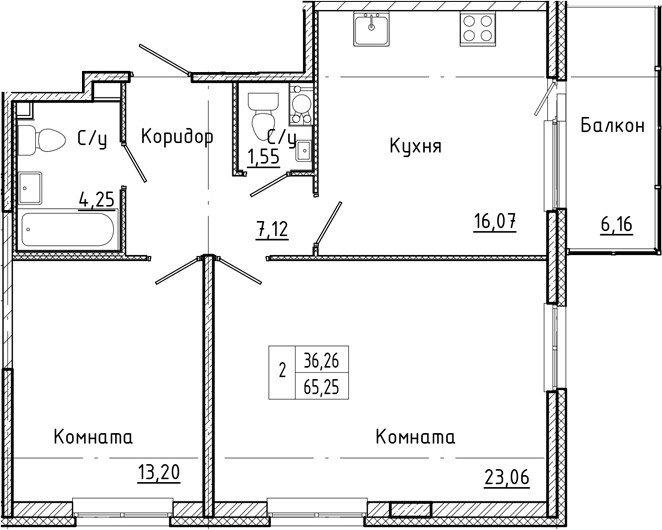 3-комнатная 71 м<sup>2</sup> на 4 этаже