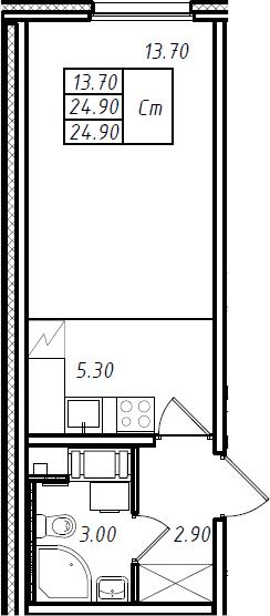 Студия 24 м<sup>2</sup> на 16 этаже