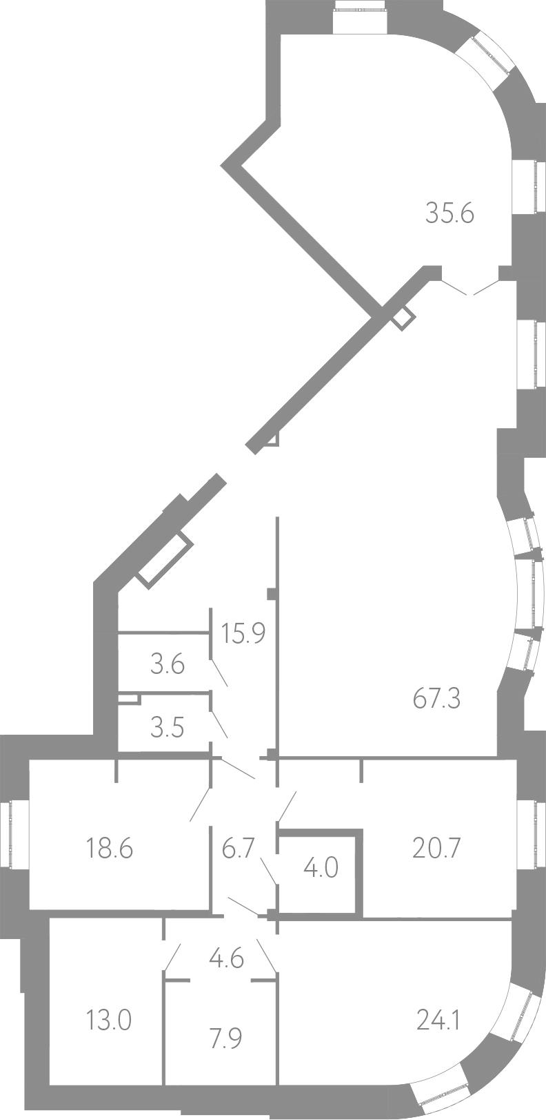 4-комнатная 225 м<sup>2</sup> на 1 этаже