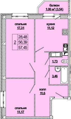 2-к.кв, 60.37 м²