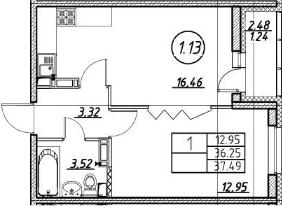 1-комнатная 38 м<sup>2</sup> на 16 этаже