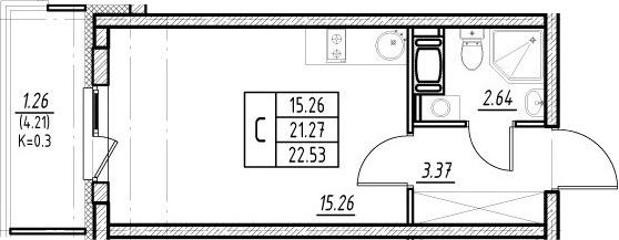 Студия 25 м<sup>2</sup> на 4 этаже