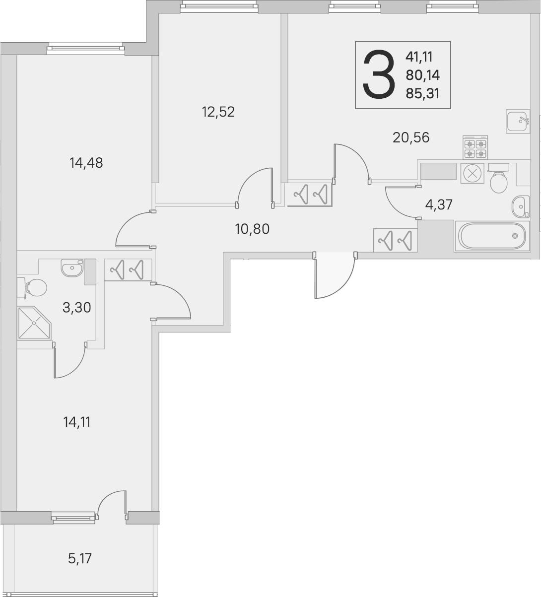 4-комнатная 85 м<sup>2</sup> на 4 этаже