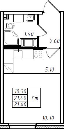 Студия 21 м<sup>2</sup> на 11 этаже