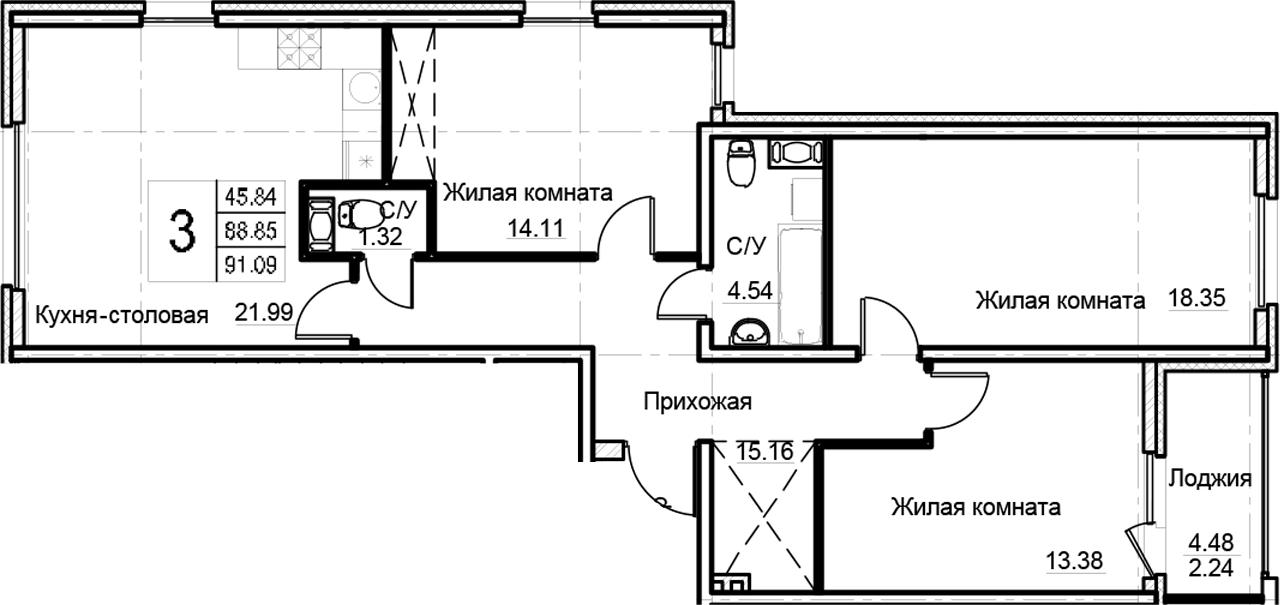 4-комнатная 93 м<sup>2</sup> на 4 этаже