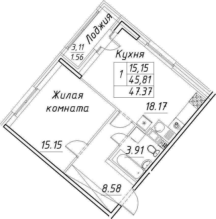 2-комнатная 48 м<sup>2</sup> на 11 этаже