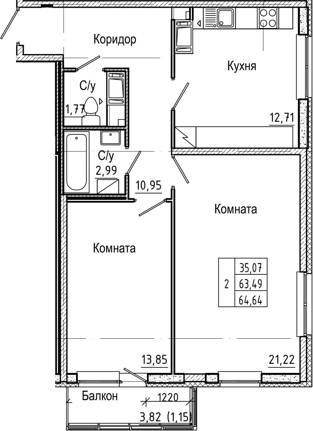 2-комнатная 67 м<sup>2</sup> на 7 этаже