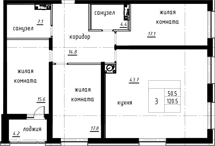 4-комнатная 124 м<sup>2</sup> на 8 этаже
