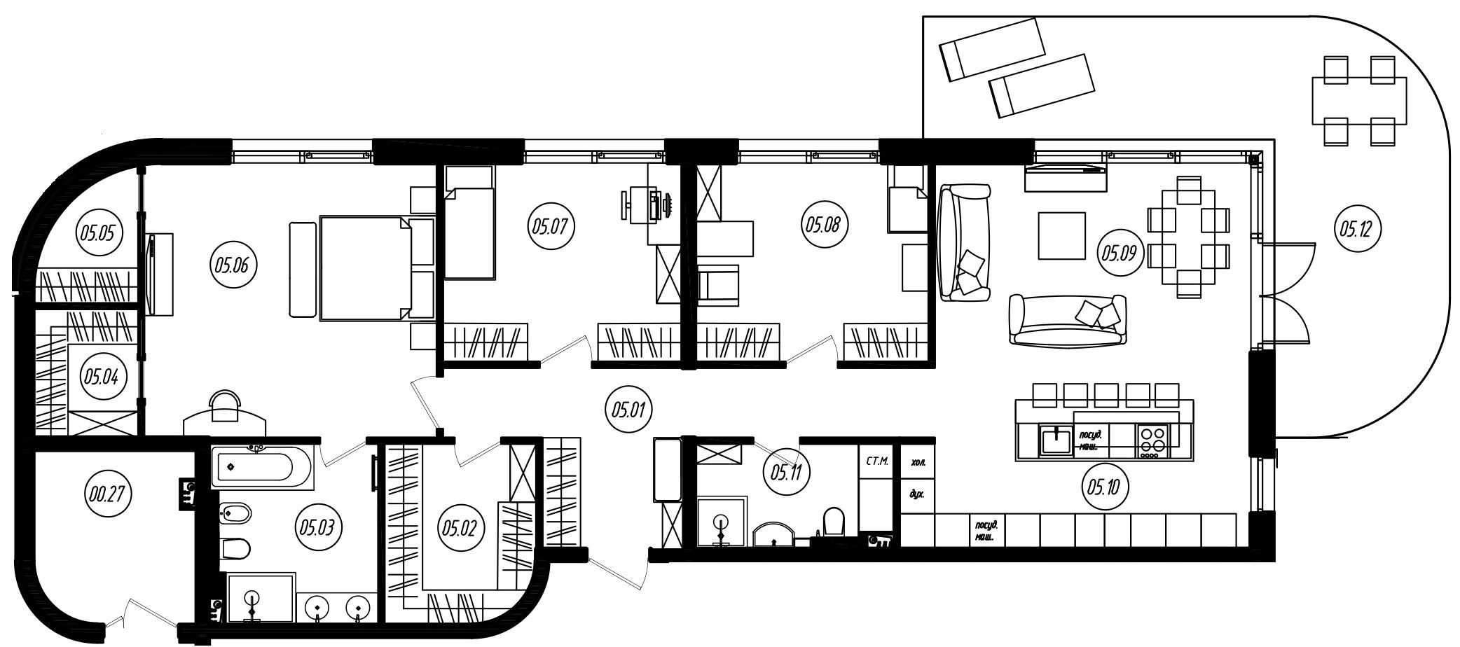 4-комнатная 163 м<sup>2</sup> на 1 этаже