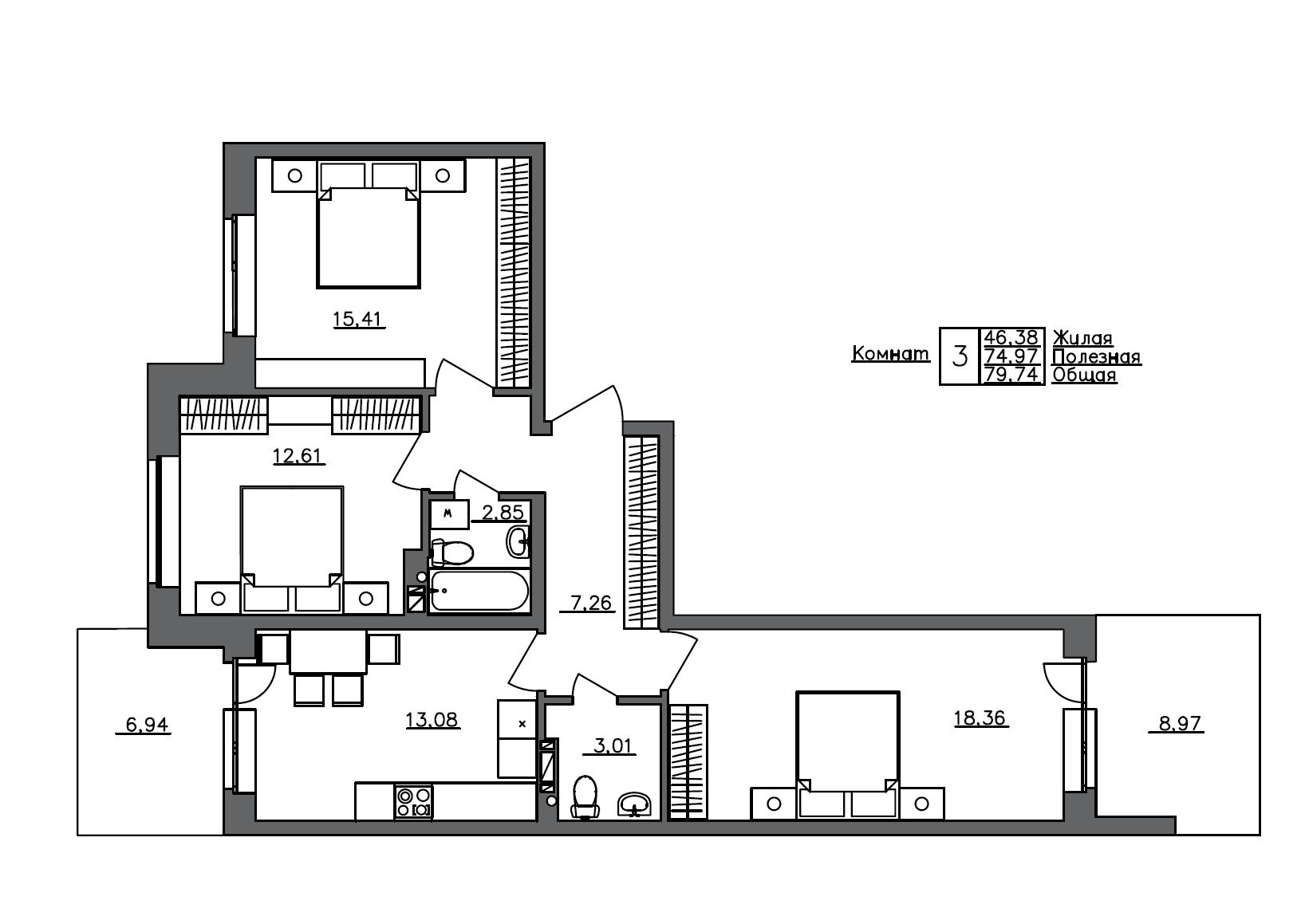 3-комнатная 90 м<sup>2</sup> на 1 этаже