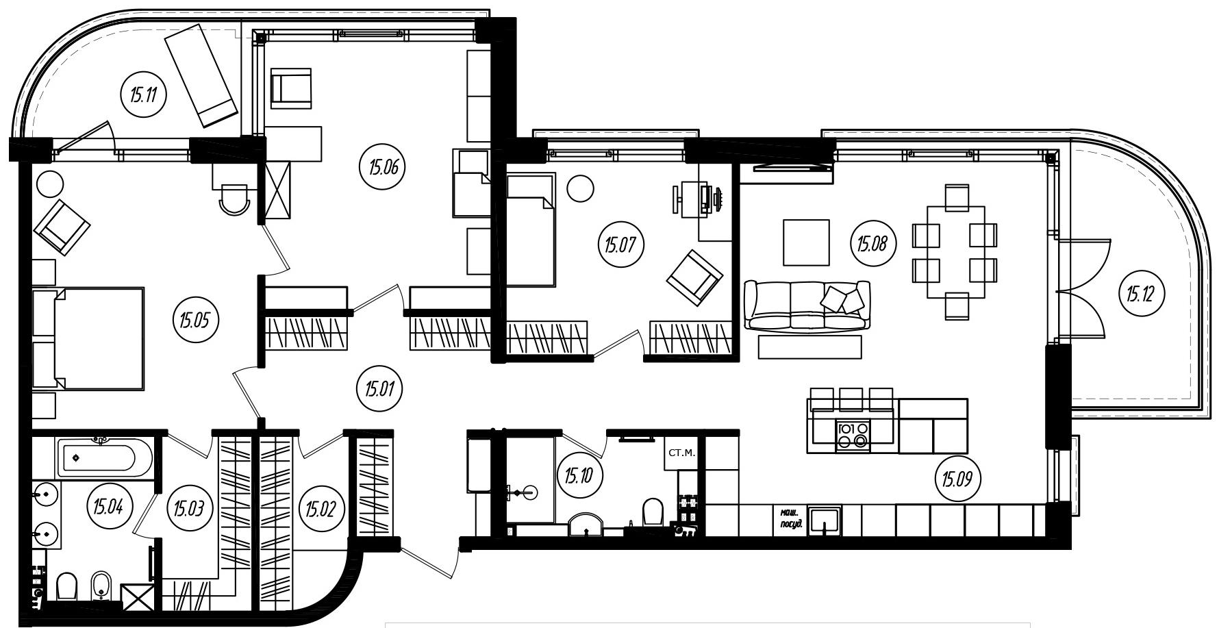 4-комнатная 143 м<sup>2</sup> на 2 этаже